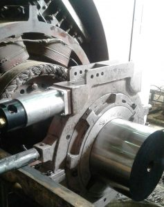 Rotor Shaft Grinding in Process