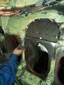 Casting Piece Stitched in Broken Area of Engine Block